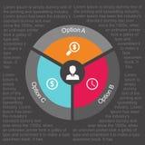 Círculo infographic del negocio en diseño plano Disposición para sus opciones o pasos Modelo abstracto para el fondo Fotos de archivo
