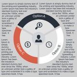 Círculo infographic del negocio en diseño plano Disposición para sus opciones o pasos Modelo abstracto para el fondo Foto de archivo