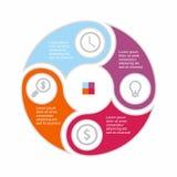Círculo infographic del negocio en diseño plano Disposición para sus opciones o pasos Modelo abstracto para el fondo Imagenes de archivo