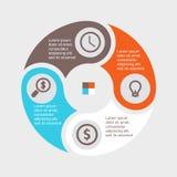 Círculo infographic del negocio en diseño plano Disposición para sus opciones o pasos Modelo abstracto para el fondo Fotografía de archivo libre de regalías