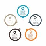 Círculo infographic del negocio en diseño plano Disposición para sus opciones o pasos Modelo abstracto para el fondo Imagen de archivo libre de regalías