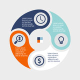 Círculo infographic del negocio en diseño plano Disposición para sus opciones o pasos Modelo abstracto para el fondo stock de ilustración