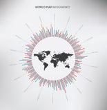 Círculo Infographic y mapa del mundo Vector plano Imagen de archivo libre de regalías