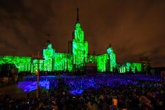 Círculo internacional do festival de Moscou da luz mostra do mapeamento 3D na universidade estadual de Moscou Fotos de Stock