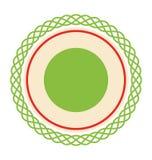 Círculo Lacy Christmas Label Icon Flat aislado en blanco libre illustration