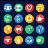 Círculo liso do projeto dos ícones dos direitos humanos ilustração do vetor