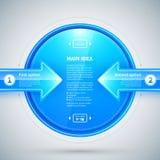 Círculo lustroso azul com as duas setas que apontam a ele Útil para apresentações ou design web Fotos de Stock Royalty Free