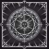 Círculo mágico de la alquimia en fondo de la pizarra ilustración del vector