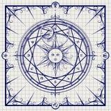 Círculo mágico de la alquimia en fondo del cuaderno ilustración del vector