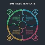 Círculo moderno Infographic con 4 etapas de los pasos stock de ilustración