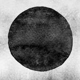 Círculo negro, gris de la acuarela Mancha del Watercolour en el fondo blanco Imágenes de archivo libres de regalías