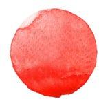 Círculo pintado à mão da aquarela Elementos bonitos do projeto Fundo vermelho imagens de stock royalty free
