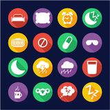 Círculo plano del diseño de los iconos del sueño o el dormir Imagenes de archivo