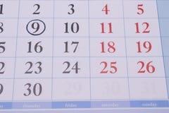 Círculo preto do calendário Fotografia de Stock Royalty Free