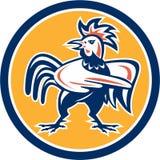 Círculo punteagudo enojado del gallo del pollo retro Foto de archivo