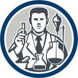 Círculo retro de Lab Researcher Chemist del científico Imagenes de archivo