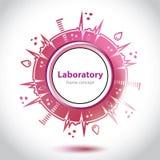 Círculo rojo abstracto del laboratorio médico Imagenes de archivo