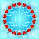 Círculo rojo de los corazones de la historieta Fotografía de archivo