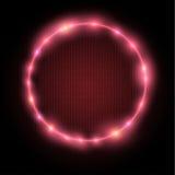 Círculo rojo de neón Imágenes de archivo libres de regalías