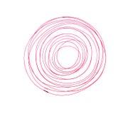 Círculo rojo del movimiento de la pluma aislado en blanco Fotos de archivo libres de regalías