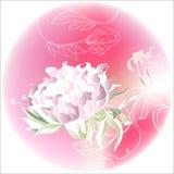 Círculo rosado con las flores Fotografía de archivo