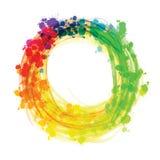 Círculo salpicado multicolor de la acuarela stock de ilustración