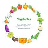 Círculo sano fresco de la tarjeta de la bandera de los caracteres de las verduras de la historieta Vector ilustración del vector