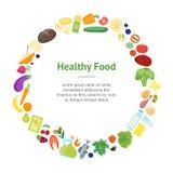 Círculo saudável do cartão da bandeira do alimento da cor dos desenhos animados Vetor ilustração stock