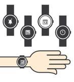 Círculo Smartwatch com ícones Fotos de Stock