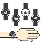 Círculo Smartwatch con los iconos Fotos de archivo libres de regalías