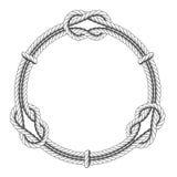 Círculo torcido de la cuerda - marco y nudos redondos Imagen de archivo libre de regalías