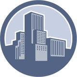 Círculo urbano das construções do arranha-céus Foto de Stock Royalty Free