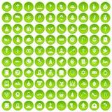 100 círculo verde ajustado da igreja ícones ilustração do vetor