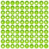 100 círculo verde ajustado do alimento natural ícones Imagens de Stock Royalty Free