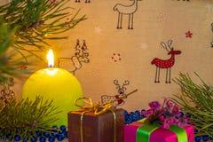 Círculo verde da vela do Natal Composição do ano novo foto de stock