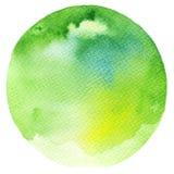 Círculo verde de la acuarela Fotografía de archivo libre de regalías