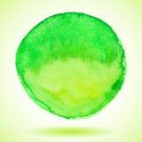 Círculo verde de la pintura de la acuarela Fotografía de archivo libre de regalías