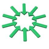 Círculo verde de las flechas 3d Imágenes de archivo libres de regalías
