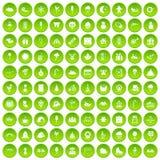 círculo verde fijado iconos de los partidos de 100 niños stock de ilustración