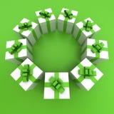 Círculo verde y blanco de las cajas de regalo libre illustration