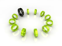 Círculo verde y elemento negro Fotografía de archivo