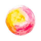 Círculo vermelho amarelo da aquarela Fotos de Stock Royalty Free