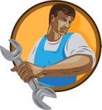 Círculo WPA de Worker Holding Spanner del mecánico libre illustration
