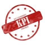 Círculo y estrellas resistidos rojo del sello de KPI Fotos de archivo
