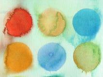 Círculos abstractos del fondo de la acuarela Imágenes de archivo libres de regalías