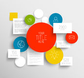 Círculos abstractos del vector y plantilla infographic de los cuadrados Imagenes de archivo