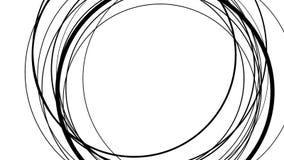 Círculos abstractos negros que giran sobre blanco stock de ilustración