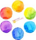 Círculos aislados vector colorido de la pintura de la acuarela Imagenes de archivo
