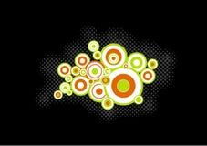 Círculos alaranjados, verdes. Vetor Imagens de Stock Royalty Free