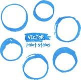 Círculos azules del vector de la pintura del marcador fijados Fotos de archivo libres de regalías
